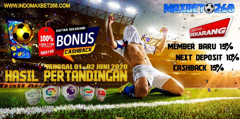 Hasil Pertandingan Sepakbola Tanggal 01 - 02 Juni 2020