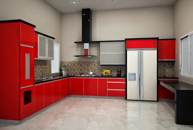 contoh kabinet dapur warna merah
