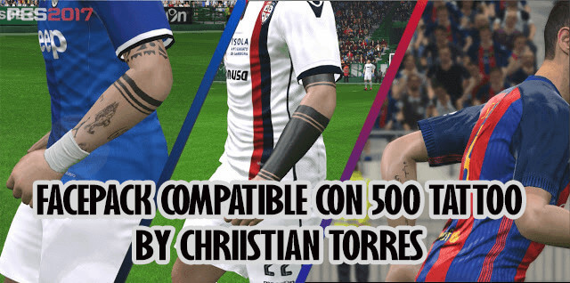 Facepack Update with Tattoo 45 Faces PES 2017