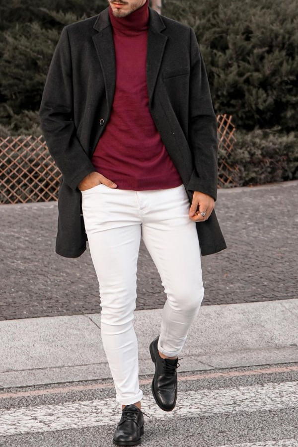 Turtle neck with long coat & jeans