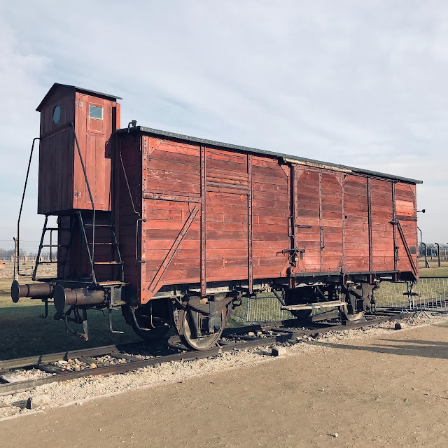 One of the transportation carriages at Birkenau : My Visit To Auschwitz (and why you should visit too)