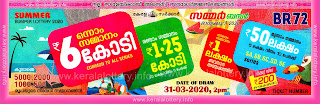 Kerala Lottery Summer Bumper 2020 BR 72 Lottery Results 31.03.2020-keralalottery.info