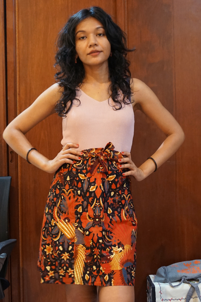Batik skirt and pink knit strappy top combo