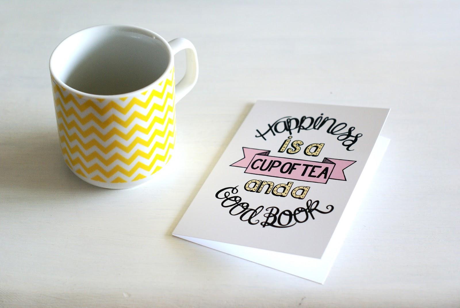 happiness book tea mug card