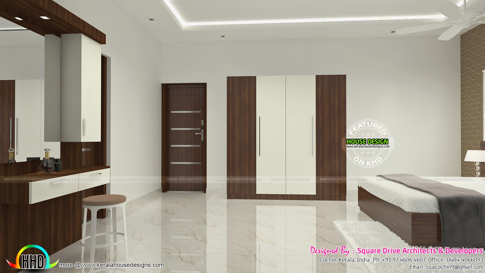 Courtyard kitchen and bedroom interiors kerala home for Bedroom designs kerala