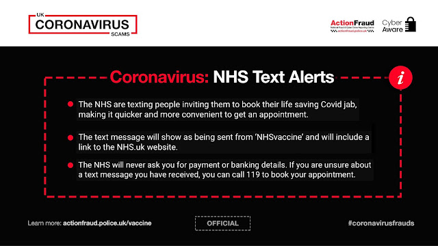 Fake NHS texts about vaccinations. Call 119 to book if unsure