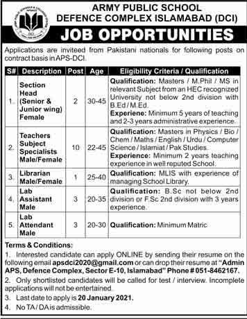 Military Public School Defense Complex Islamabad Jobs 2021 Advertising