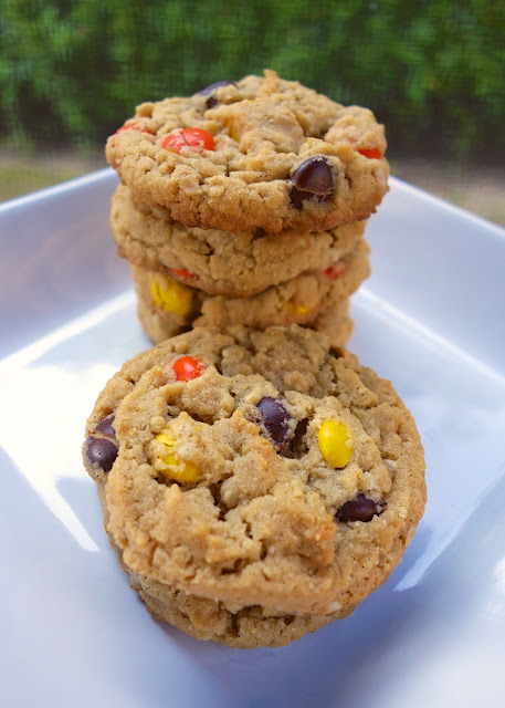 Reese's Pieces Peanut Butter Oatmeal Cookies - peanut butter lover's dream!!! Crispy on the outside and soft on the inside. PERFECT!! Flour, baking soda, salt, butter, peanut butter, sugar, brown sugar, vanilla, egg, oatmeal, Reese's pieces. Loads of peanut butter flavor with a hint of oatmeal. SO delicious! I always double the recipe because they don't last long in our house!