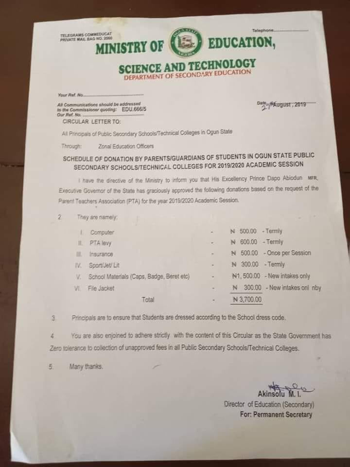 OGUN STATE GOVERNOR SUSPENDS N3,700 SCHOOL LEVY