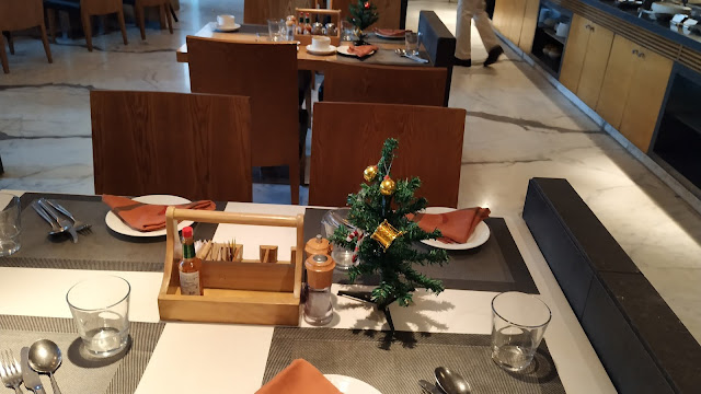 Christmas tree on a pre designed table in hotels buffet