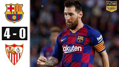 مباراة برشلونة واشبيلية وفوز غالي لبرشلونة بنتيجة 4-0
