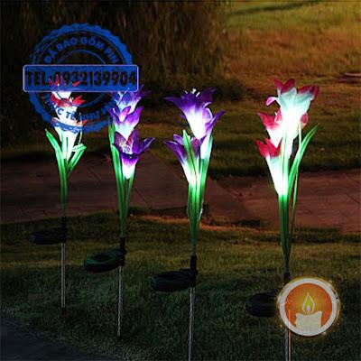 Đèn led hoa Lily pin năng lượng mặt trời