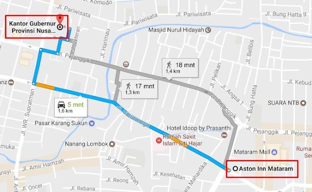 Peta Jarak Hotel Aston Inn Mataram ke Kantor Gubernur NTB