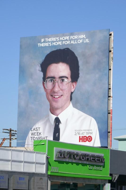 Last Week Tonight John Oliver season 7 school photo billboard
