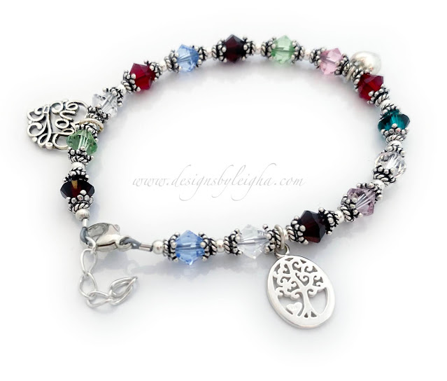 Family Tree Birthstone Bracelet with a Filigree Love charm and a Lobster Claw Clasp with an Extension