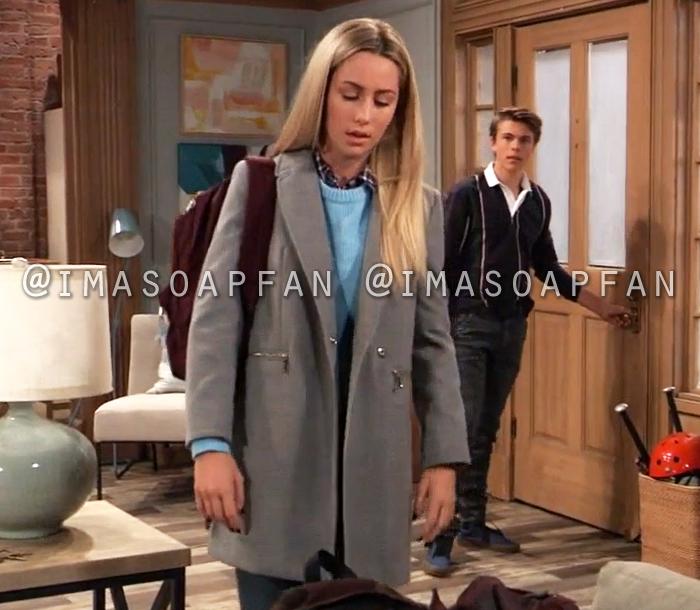 Josslyn Jacks, Eden McCoy, Grey Coat with Zip Pockets, General Hospital, GH