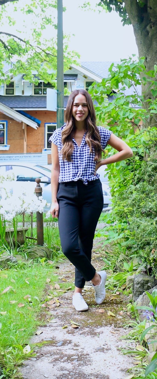 Jules in Flats - Gingham Button Up with White Sneakers (Easy Work from Home Outfit)