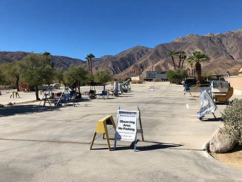 Friday morning and the scopes are being setup at Nightfall in Borrego Springs (Source: Palmia Observatory)