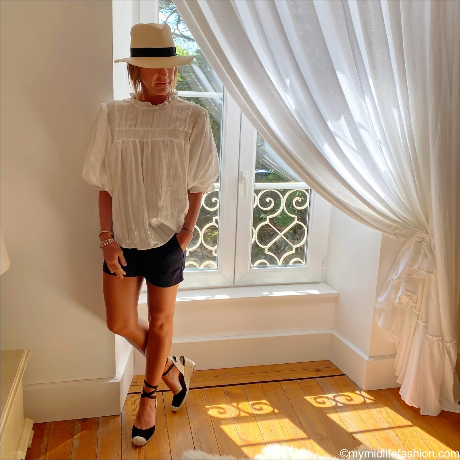 my midlife fashion, h and m Panama hat, zara ruffle blouse, j crew 5 inch chino shorts, vionic espadrille wedge sandals