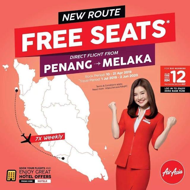 FREE SEAT PENANG MELAKA UNTIL 21 APRIL 2019