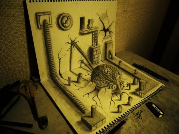 Gambar Sketsa 3 Dimensi Yang Kreatif Keren dan Juga Menakjubkan-1