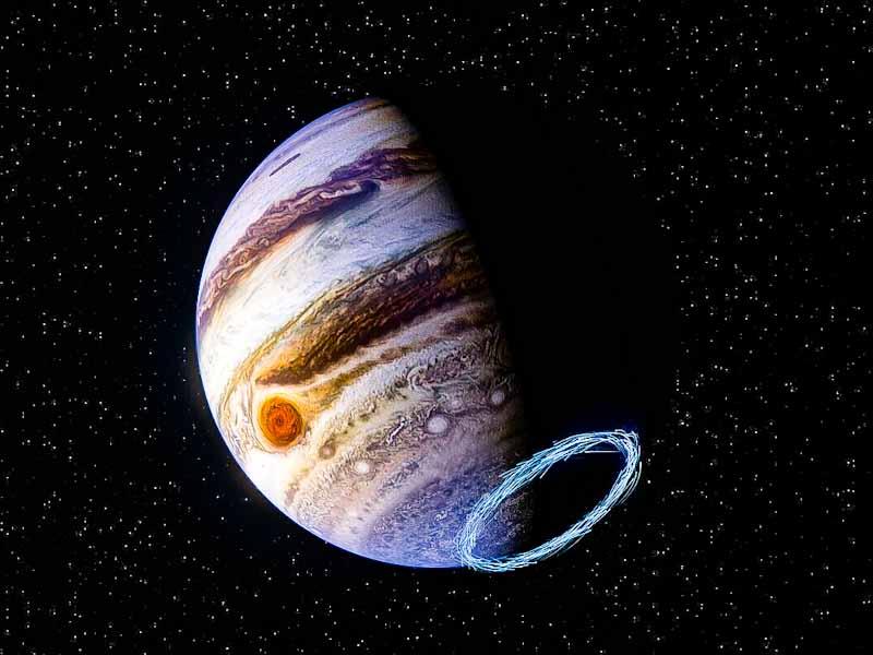 Representação artística mostra ventos estratosféricos perto do polo sul de Júpiter