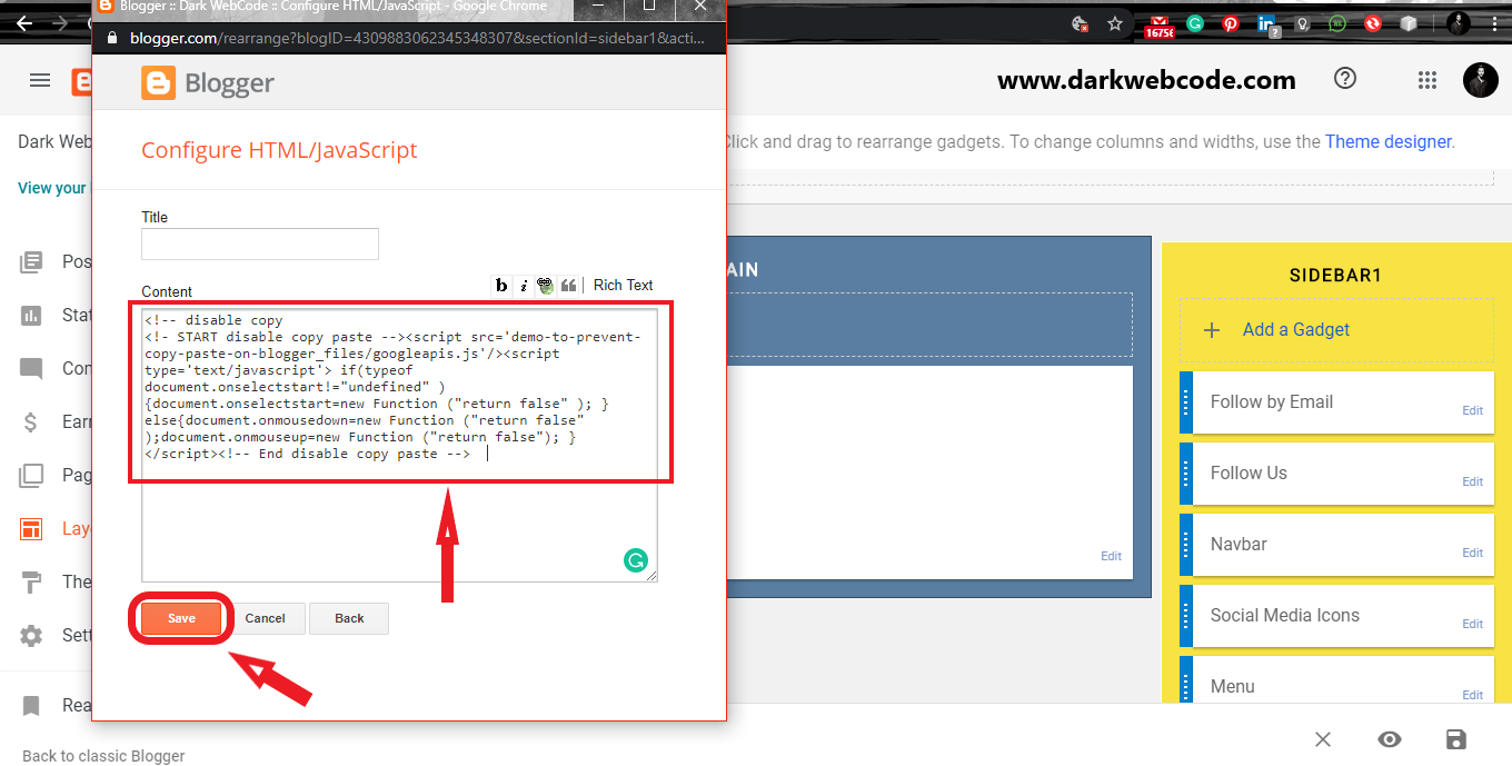 Paste the JavaScript code  on the content section and Save