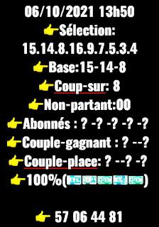 Pronostic quinté+ Mercredi Paris-Turf TV-100 % 06/10/2021