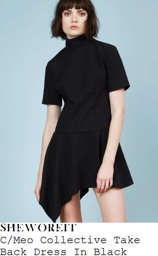 ferne-mccann-black-high-neck-short-sleeve-asymmetric-hem-cmeo-collective-mini-dress
