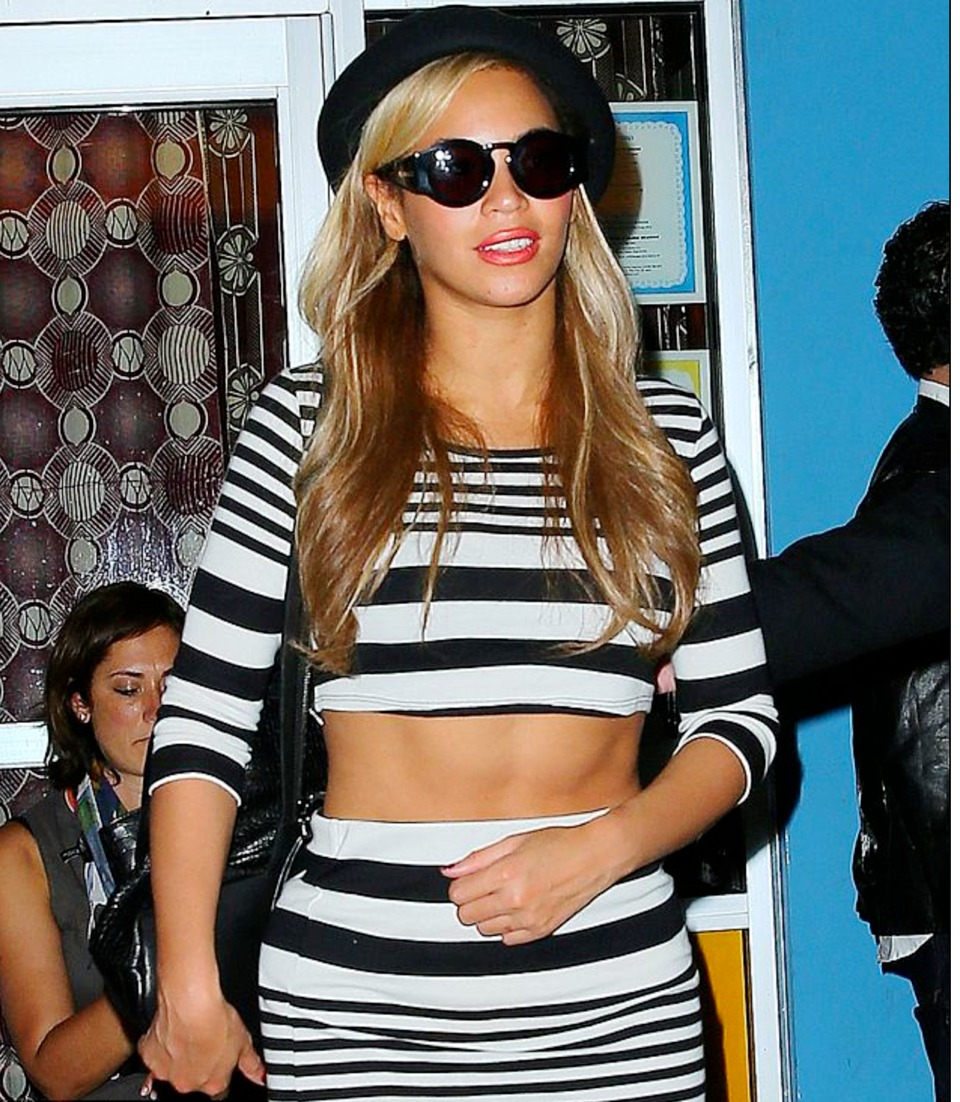 Chic Look Beyonce In Stripe Crop Top And Pencil Skirt From At Kanye West S Birthday