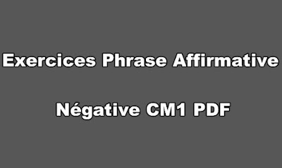 Exercice Phrase Affirmative Négative CM1 PDF a Imprimer