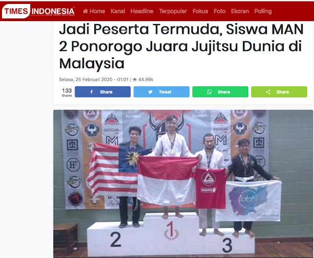 Cabor Jujitsu Kembali Mengharumkan Kabupaten Ponorogo