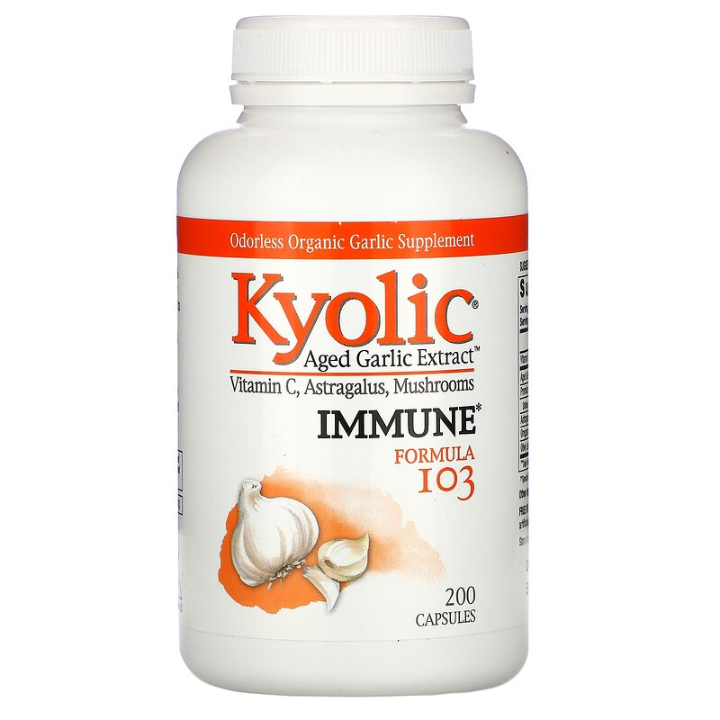 Kyolic, Aged Garlic Extract, выдержанный экстракт чеснока, для иммунитета, формула 103, 200 капсул