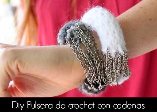 pulsera, brazalete, crochet, cadenas, bisutería, diys
