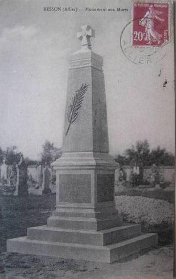 CPA monuments aux Morts de l'Allier, Besson