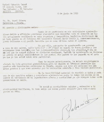 Carta de Rafael Saborido Carré a Ángel Ribera, 1953