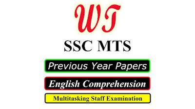 SSC MTS Previous Years English Comprehension Questions