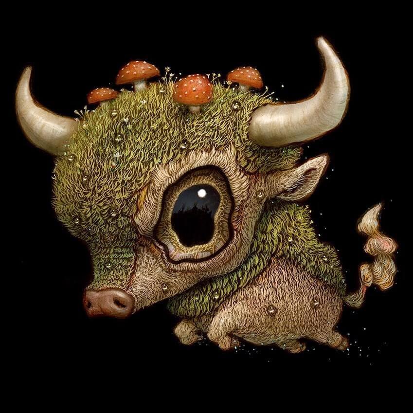 08-The-tiny-bull-Surreal-Creature-www-designstack-co