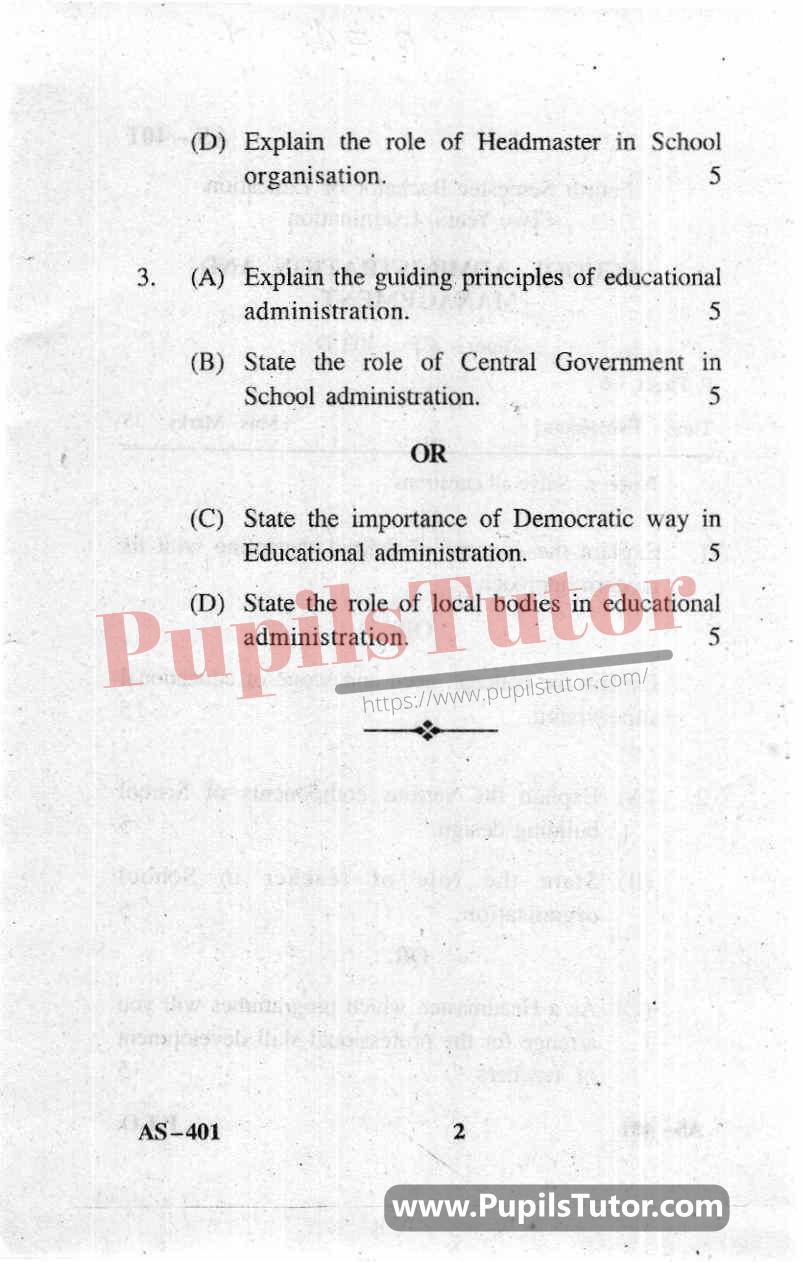 School Administration And Management Question Paper In English