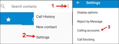 click three dot and settings and calling accounts