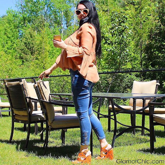 orange top, summer trends, summer look, jeans, summer shoes, orange, orange shoes, designer sunglasses