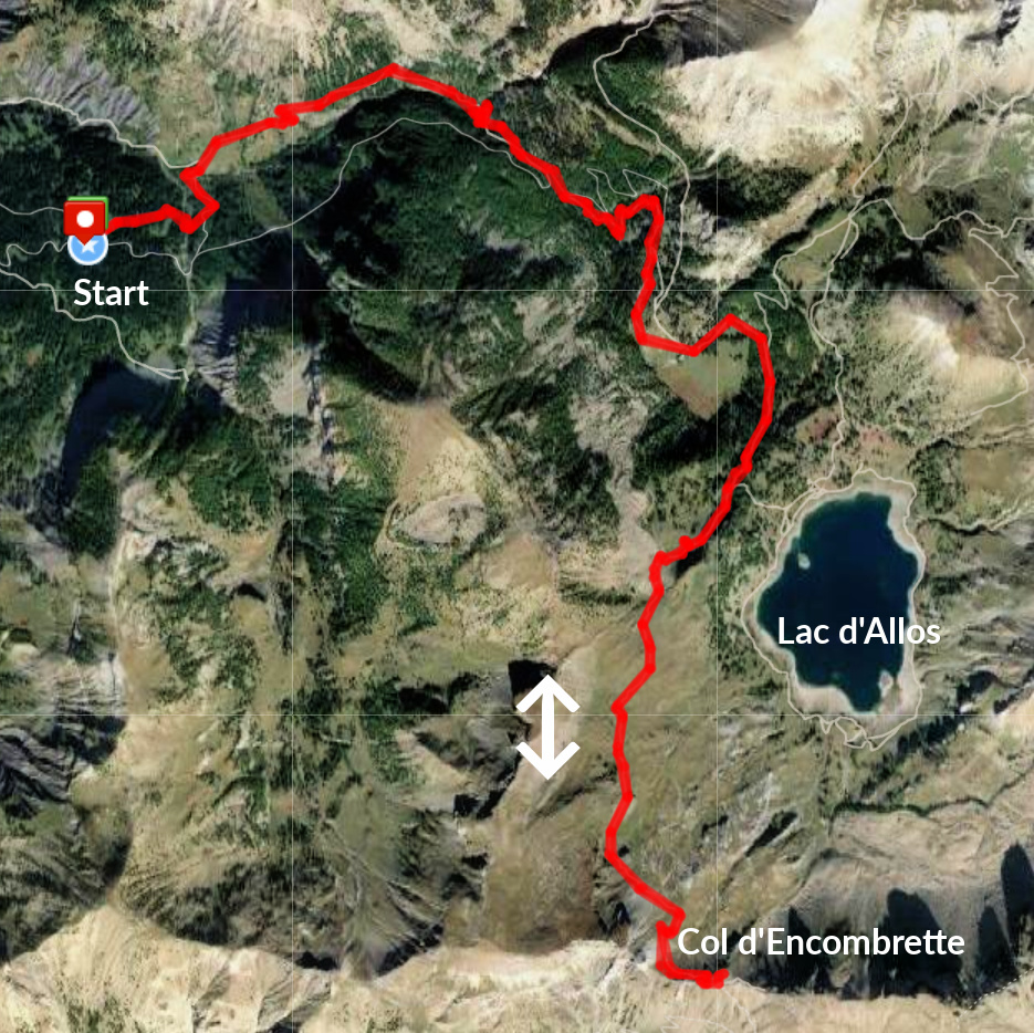 Col d'Encombrette track satellite view