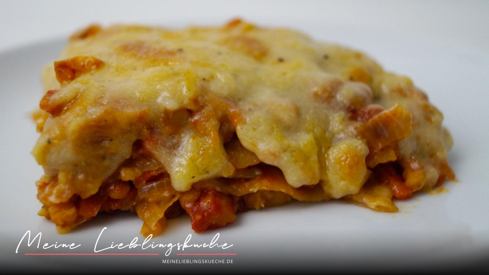 Lasagne mit Zuckerhut, roten Linsen und Hefeschmelz