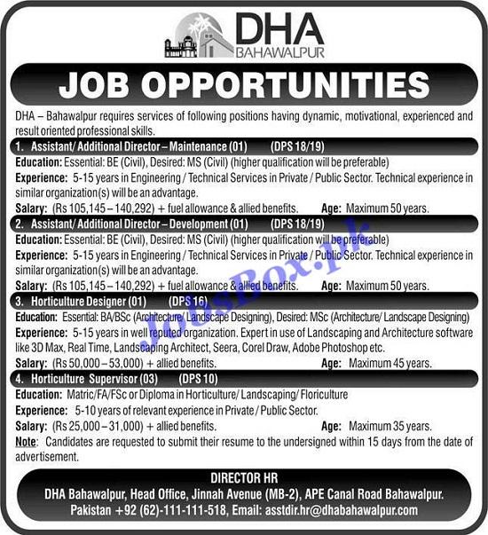 defence-housing-authority-dha-bahawalpur-jobs-2021-advertisement