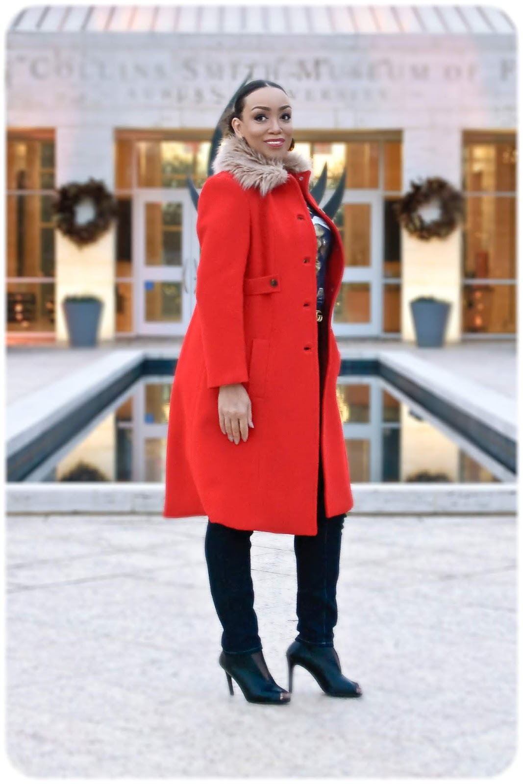 Simplicity 4403 - Fur-Trimmed Red Wool Coat - Erica Bunker DIY Style!