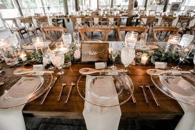 reception farm tables and decor setup