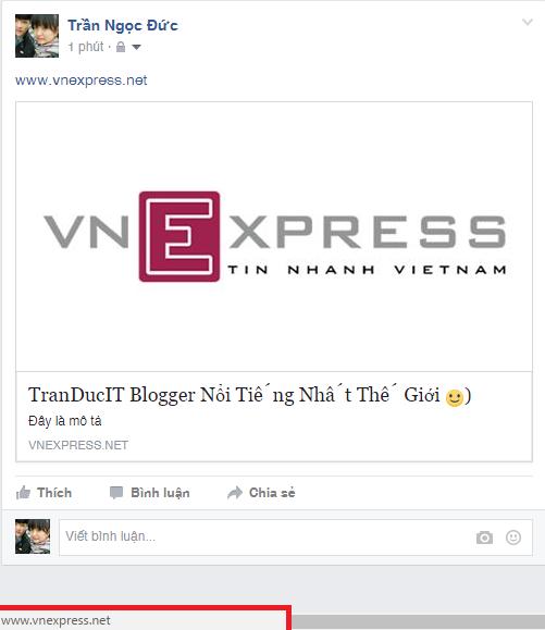 Bạn Coppy Một Link Bất Kỳ, Vnexpress Chẳng Hạn Rồi Dán Vào Thanh Post Trang  Thái Như Hình Dưới: