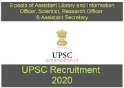 UPSC recruitment 2020 notification | Apply for 9 posts of Assistant Library and Information Officer, Scientist, Research Officer & Assistant Secretary | Apply Now!!
