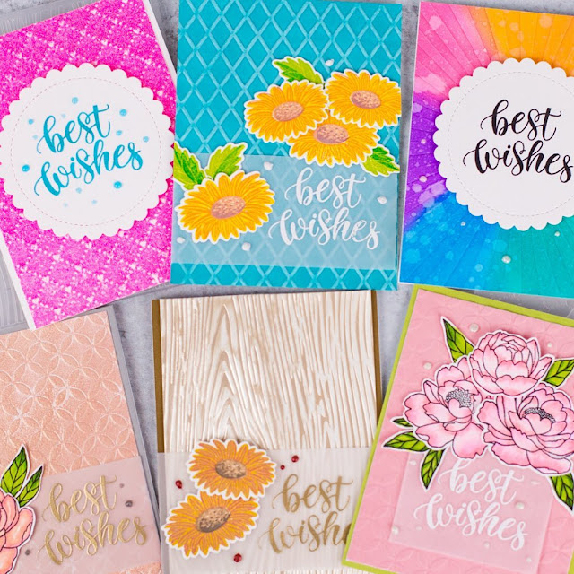 Sunny Studio Stamps: Cheerful Daisies, Pink Peonies, Dapper Diamonds, Moroccan Circles, Woodgrain, Sunburst Embossing cards and video tutorial by Rebecca Keppel