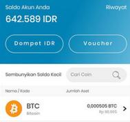 Deposit di Aplikasi Indodax